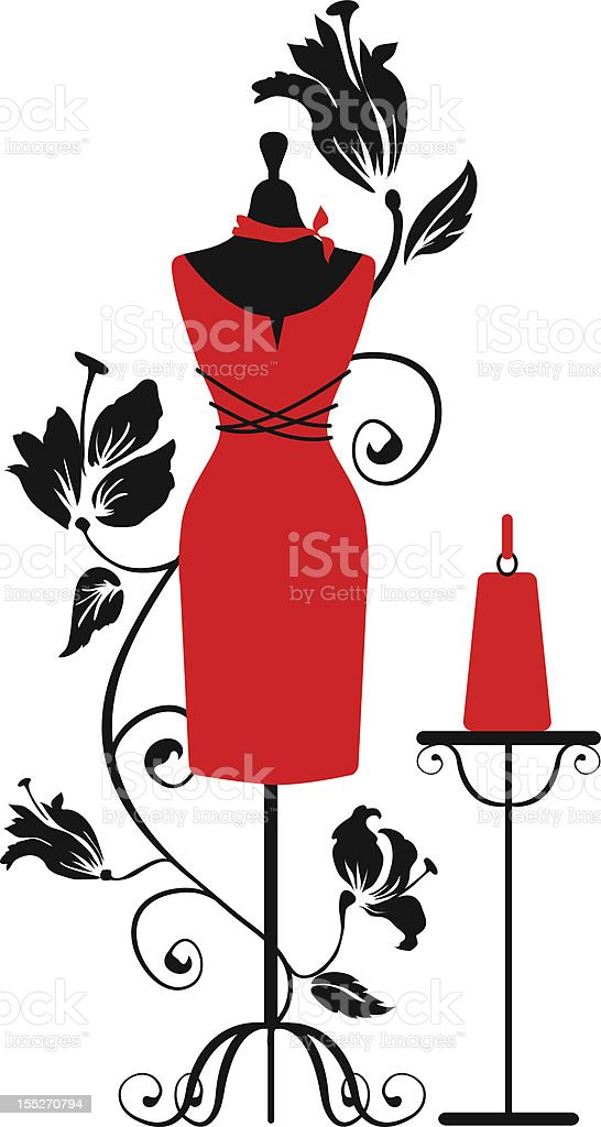 Mannequin for tailors ang a bag. Isabelle series vector art illustration