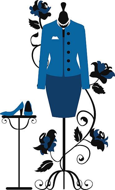 schaufensterpuppe für schneider mit kleid business - couture stock-grafiken, -clipart, -cartoons und -symbole