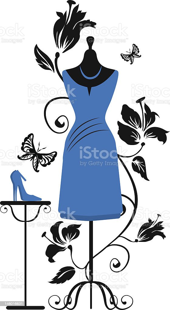 Mannequin for tailors with dress ang shoes vector art illustration