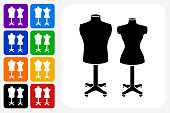 Mannequin Icon Square Button Set. The icon is in black on a white square with rounded corners. The are eight alternative button options on the left in purple, blue, navy, green, orange, yellow, black and red colors. The icon is in white against these vibrant backgrounds. The illustration is flat and will work well both online and in print.