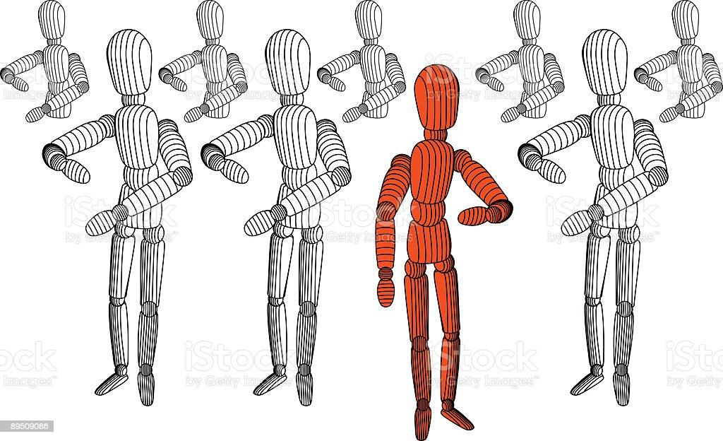 Mannequin Joe pense qu'il est différent mannequin joe pense quil est différent – cliparts vectoriels et plus d'images de blanc libre de droits