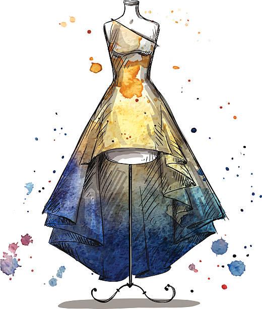 ilustrações, clipart, desenhos animados e ícones de manequim com um vestido longo. desenho de moda - baile de graduação