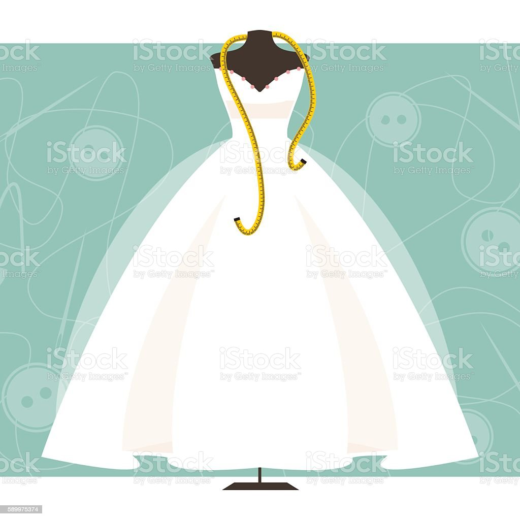 Mannequin With A Wedding Dress Vector Illustration Stock Vector Art ...