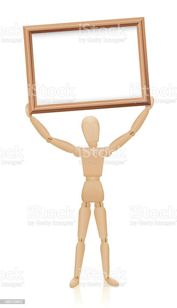 Mannequin Wood Holding Up Board vector art illustration