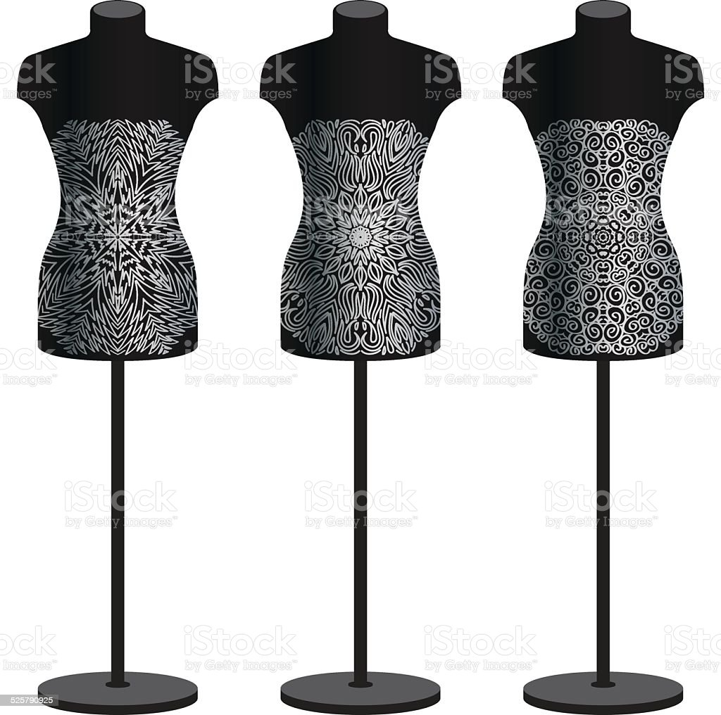 Mannequins for clothes on a white background. Vector set. vector art illustration