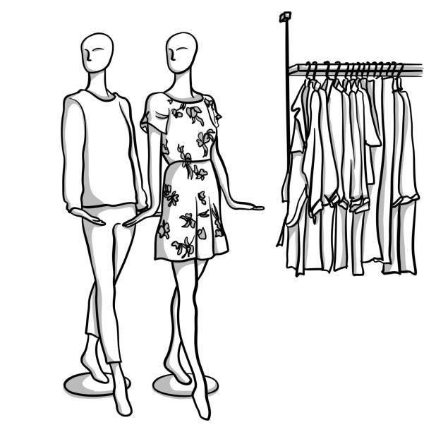 Mannequins Hands vector art illustration