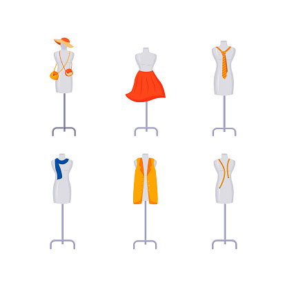 Mannequins with apparel object set