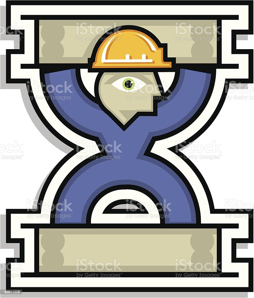 Man-o-steel construction icon logo with blue and yellow colors - Royalty-free Adult stock vector