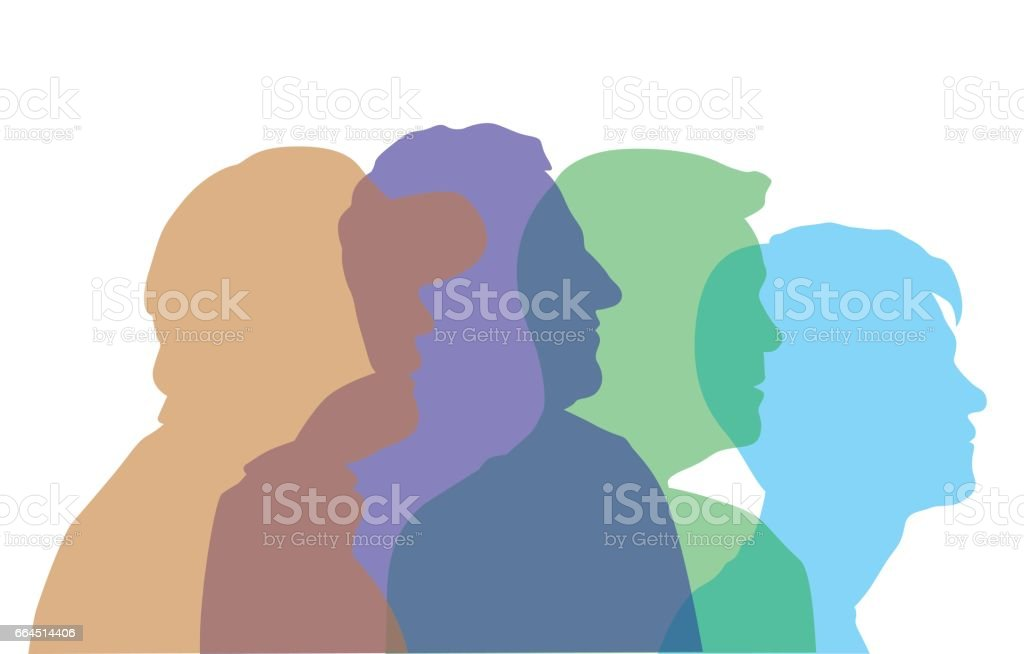 Man's Aging Process Profile Heads vector art illustration