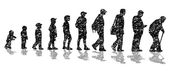 illustrazioni stock, clip art, cartoni animati e icone di tendenza di man's aging process scribbles - man evolution
