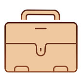 Mans briefcase flat icon. Male suitcase brown icons in trendy flat style. Office bag gradient style design, designed for web and app. Eps 10