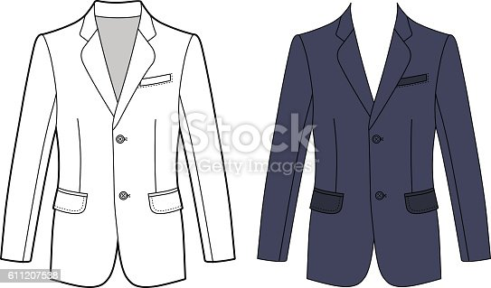 Long sleeve man's buttoned jacket outlined template (front view), vector illustration isolated on white background