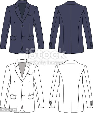Long sleeve man's buttoned gray colored jacket outlined template (front & back view), vector illustration isolated on white background