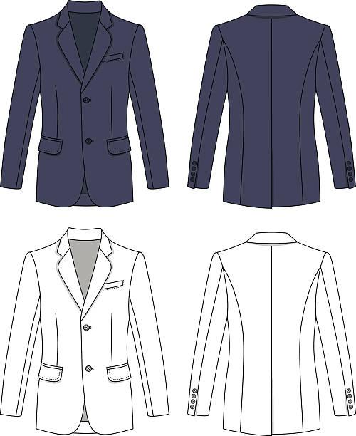 stockillustraties, clipart, cartoons en iconen met man's buttoned jacket - men blazer