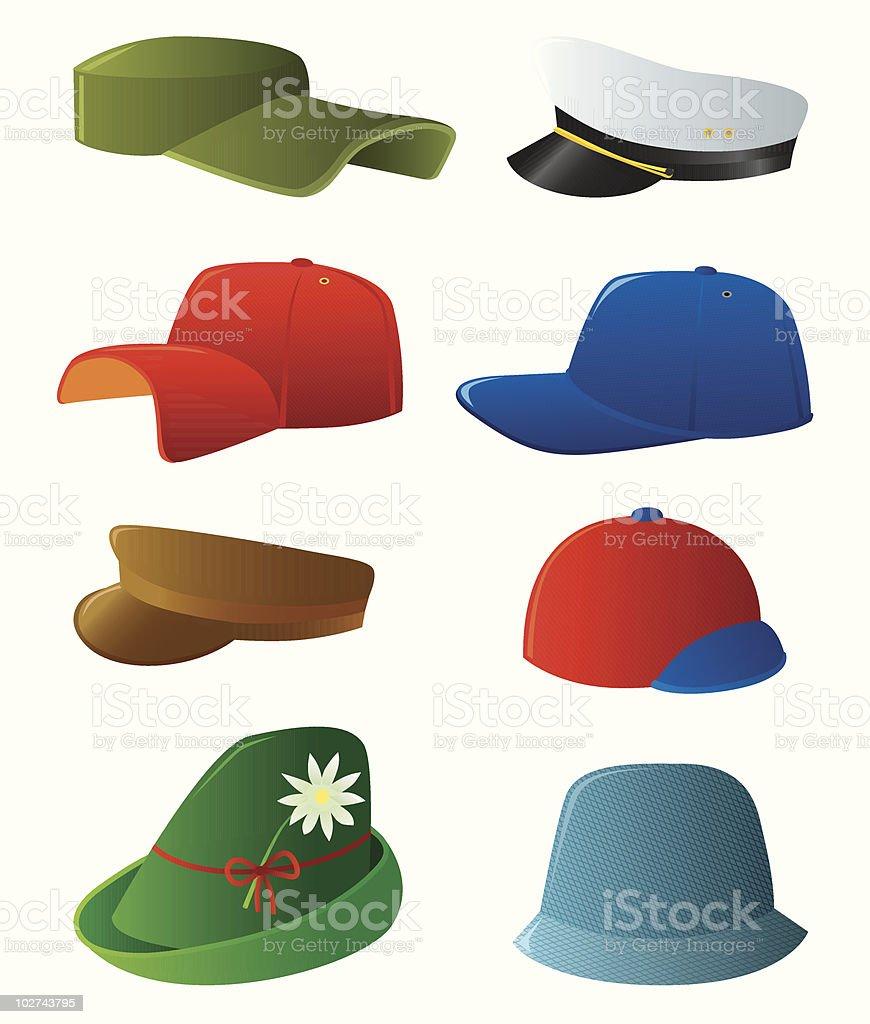 Man's cap set vector art illustration