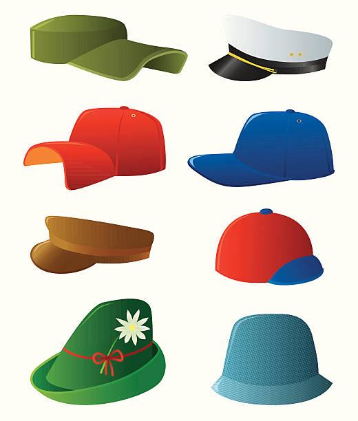 mann's cap set - matrosenmütze stock-grafiken, -clipart, -cartoons und -symbole