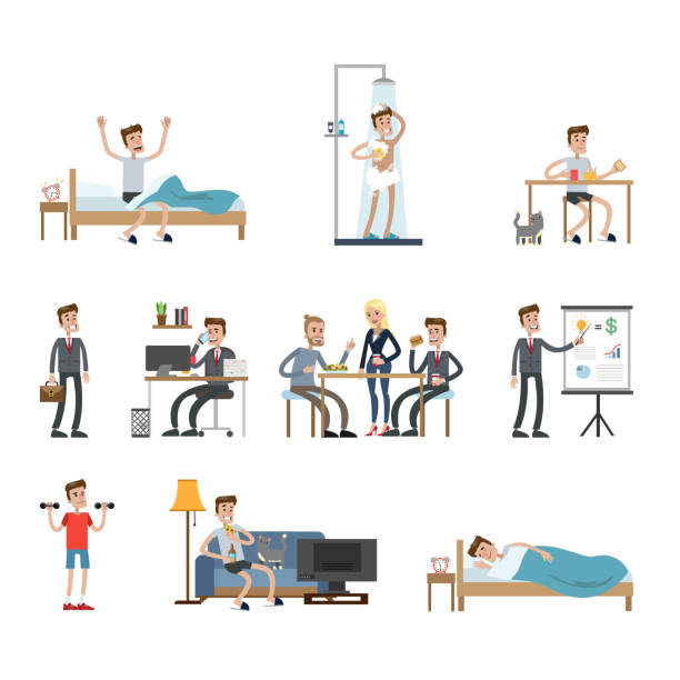 Man's daily routine. Man's daily routine at home and at work. man sleeping stock illustrations