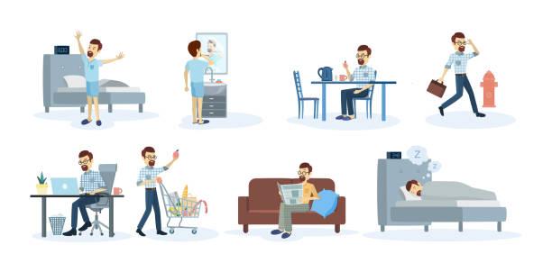 ilustraciones, imágenes clip art, dibujos animados e iconos de stock de rutina diaria del hombre. - man sleeping