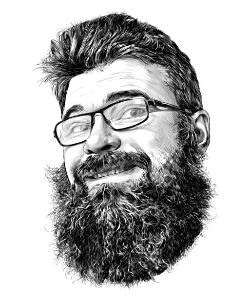 man's face in glasses with beard and luxuriant hair cute smiling – artystyczna grafika wektorowa