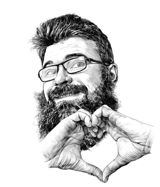 man's face in glasses with beard and luxuriant hair cute smiling with hands folded in heart shape – artystyczna grafika wektorowa