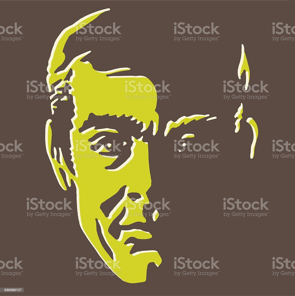 Man's Face in Shadow vector art illustration