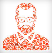 Man's Face Portrait Flu Coronavirus Icon Pattern. The main shape is filled with red coronavirus covid-19 molecule icon pattern. The icons vary in size and shades of the red color.