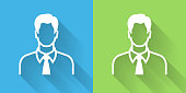 Man's Face Portrait Icon with Long Shadowon Blue Green Background with Long Shadow. There are two background color variations included in this file. The icon is rendered in white color and the background is blue or green. There is also a 45 degree long shadow.