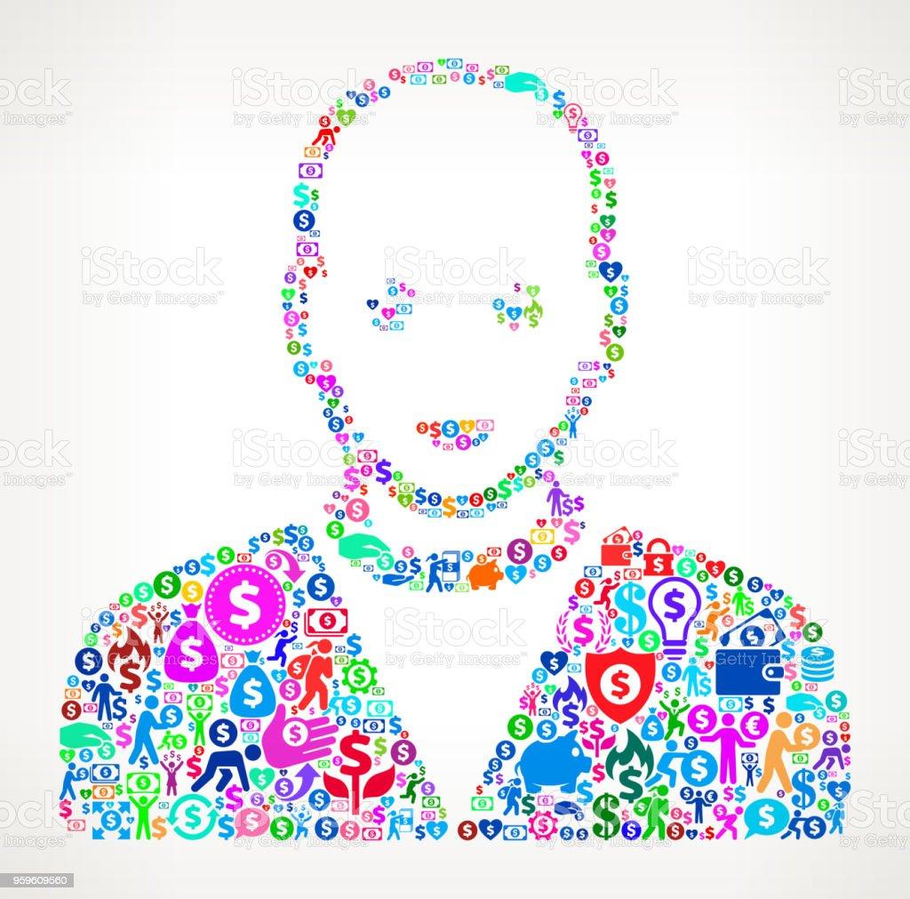 Cara retrato dinero Vector icono patrón del hombre - arte vectorial de Actividades bancarias libre de derechos
