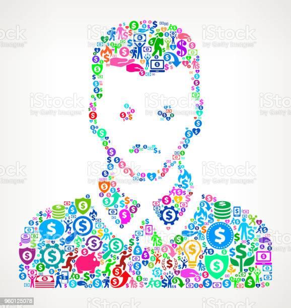 Mans Face Portrait Money Vector Icon Pattern Stock Illustration - Download Image Now