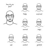 Man's face revealing various emotions, black and white