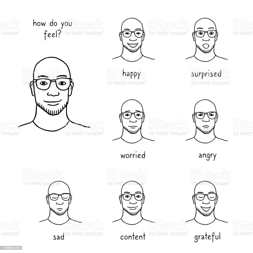 Man's face revealing various emotions, black and white vector art illustration