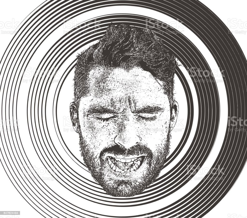 Mans face with sad, angry expression vector art illustration