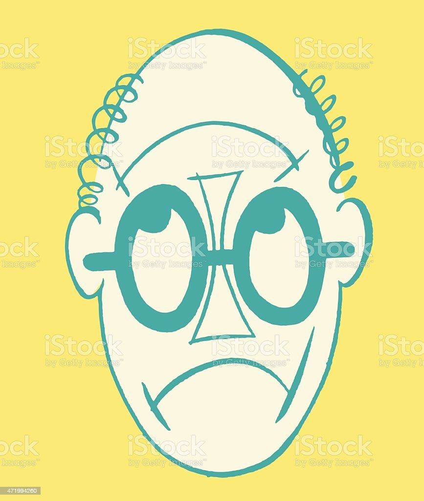 Man's Face Works Up or Down vector art illustration