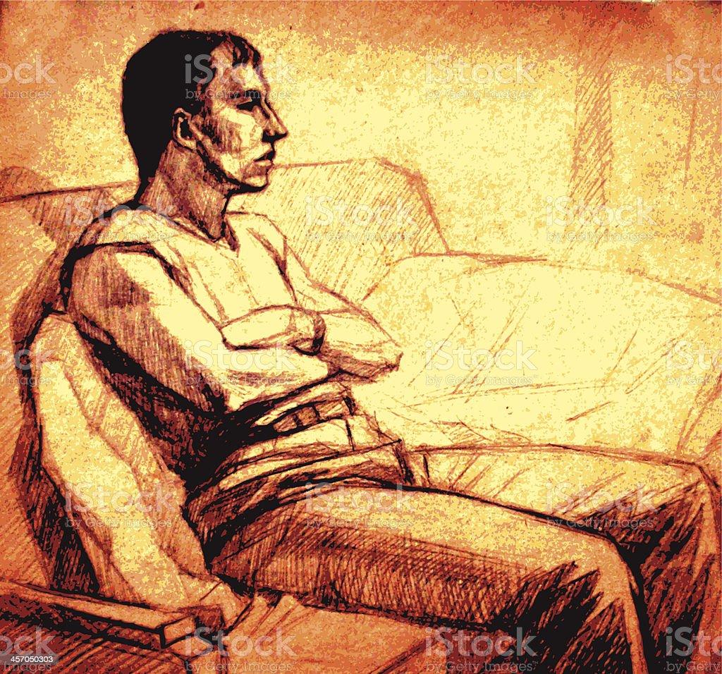 man's figure vector art illustration