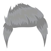 Man's hairstyle icon in monochrome style isolated on white background. Beard symbol stock vector illustration.