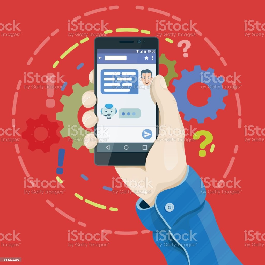 Man's hand holding a phone concept. Chatbot concept in flat style. Hand holding smartphone with chatting bot application on the screen. vector art illustration