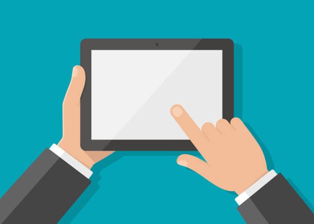 ręka mężczyzny trzymająca tablet i dotyka ekranu palcami - ludzkie części ciała stock illustrations
