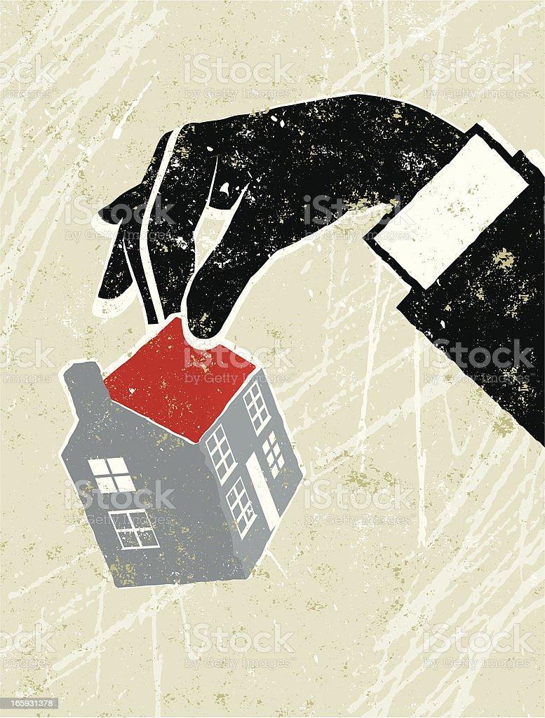 Man's Hand Holding a Tiny House vector art illustration