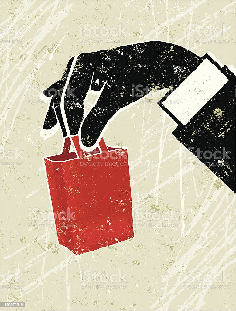 Man's Hand Holding a Tiny Shopping Bag royalty-free mans hand holding a tiny shopping bag stock vector art & more images of adult