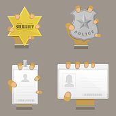 Mans Hand Holding Different Badge Types. Vector Illustration.