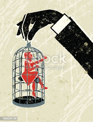 Set me Free!! A stylized vector cartoon of a man holding a birdcage with a woman inside, in the style of an old screen print poster and suggesting love, relationship issues,entrapment, unrequited love, domestic abuse,under the thumb or Domination. Hand, woman, cage, paper texture, and background are on different layers for easy editing. Please note: clipping paths have been used, an eps version is included without the path.