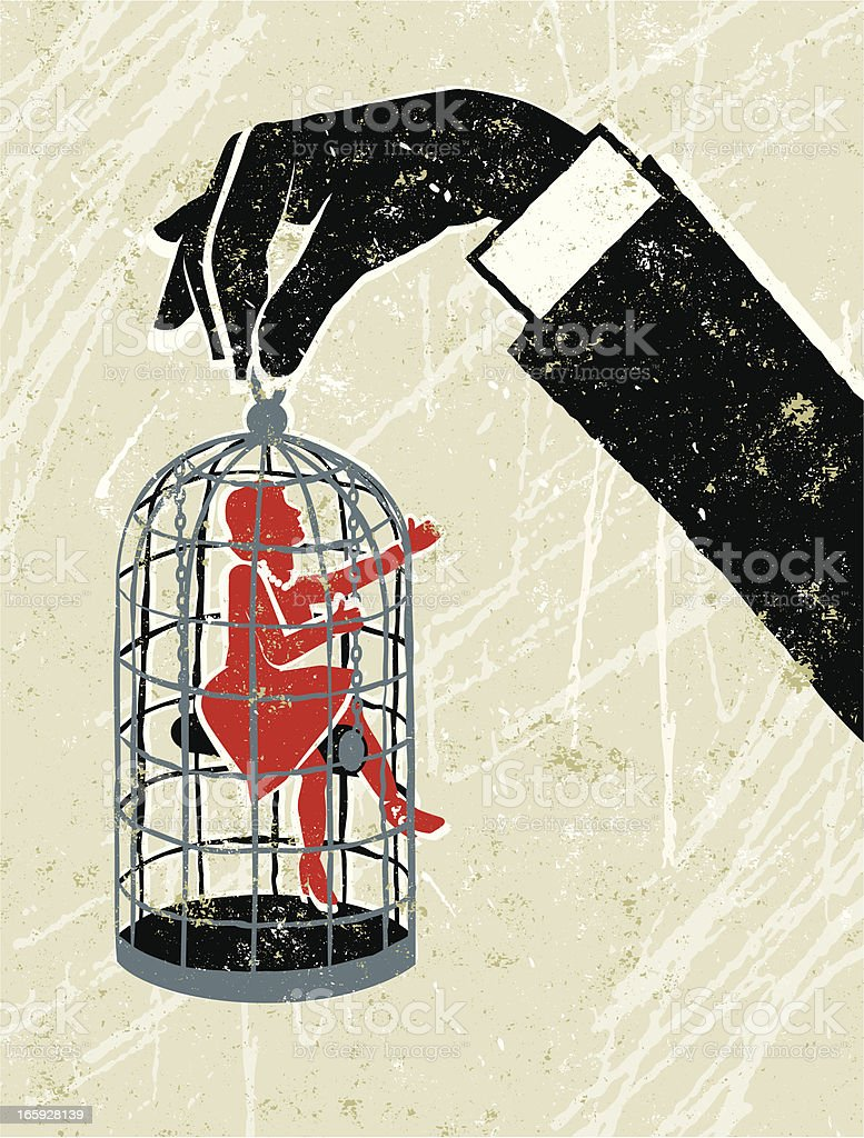 Man's Hand Holding Little Woman Trapped in a Birdcage vector art illustration