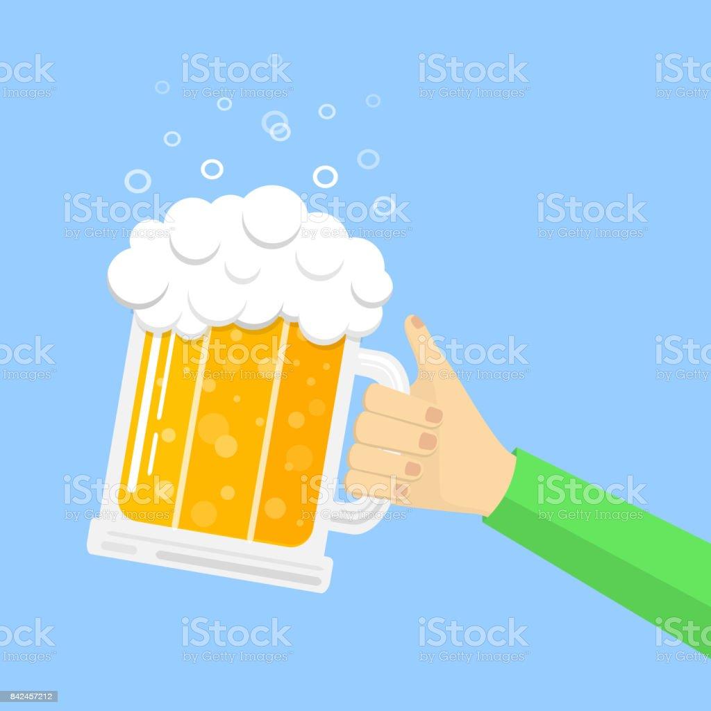Man's hand holding mug of beer on blue background. Vector. vector art illustration