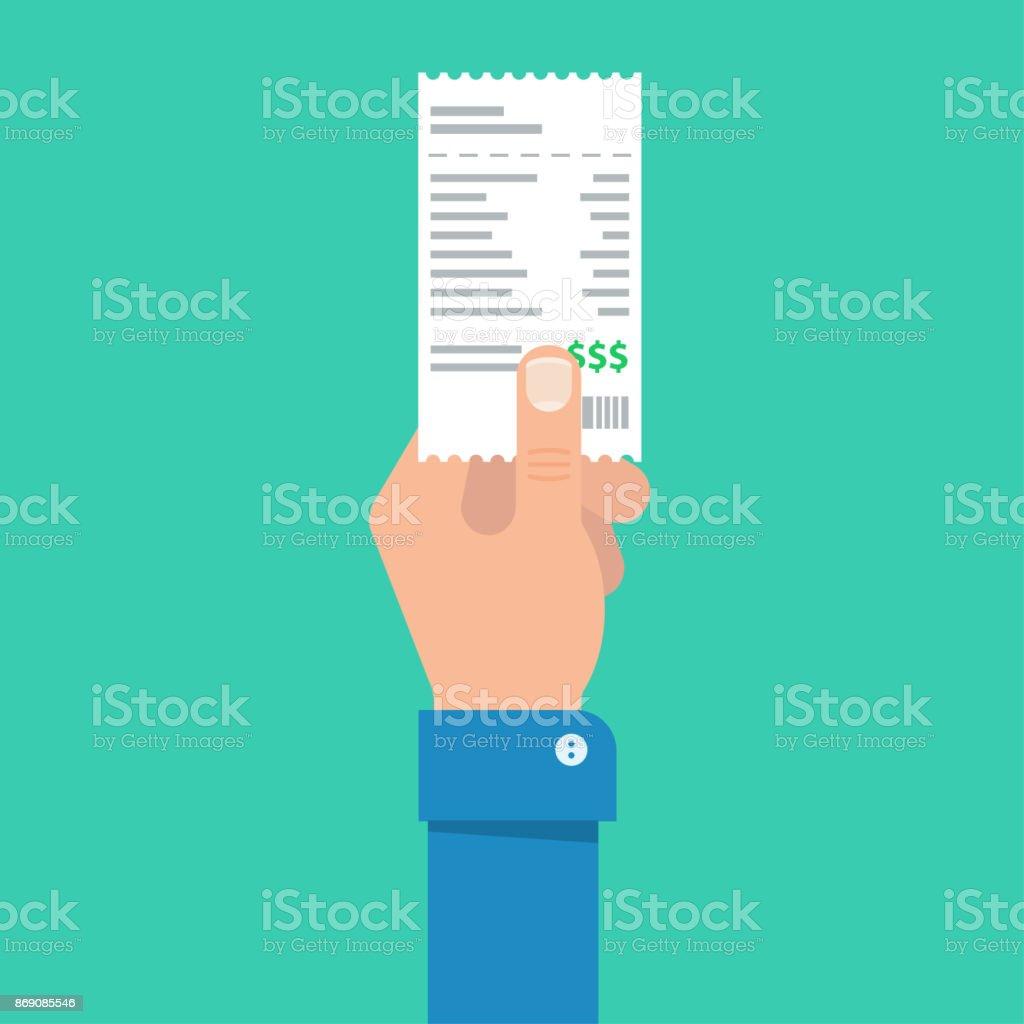Hand des Mannes hält das Konto oder die Rechnung für die Zahlung - Lizenzfrei Bank Vektorgrafik