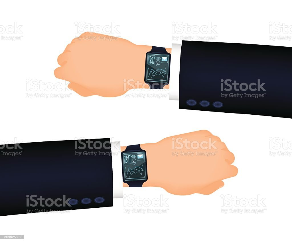 Mans hand right and left with smart watch vector art illustration
