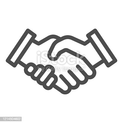 istock Mans handshake line icon. Business shake, deal agreement symbol, outline style pictogram on white background. Teamwork or teambuilding sign for mobile concept or web design. Vector graphics. 1214504602