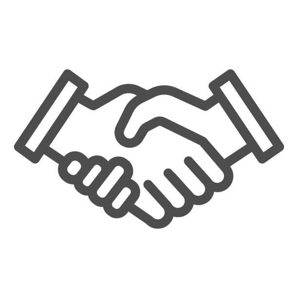 mans handshake linie symbol. business shake, deal agreement symbol, umriss stil piktogramm auf weißem hintergrund. teamwork oder teambuilding-zeichen für mobiles konzept oder webdesign. vektorgrafiken. - menschliches körperteil stock-grafiken, -clipart, -cartoons und -symbole