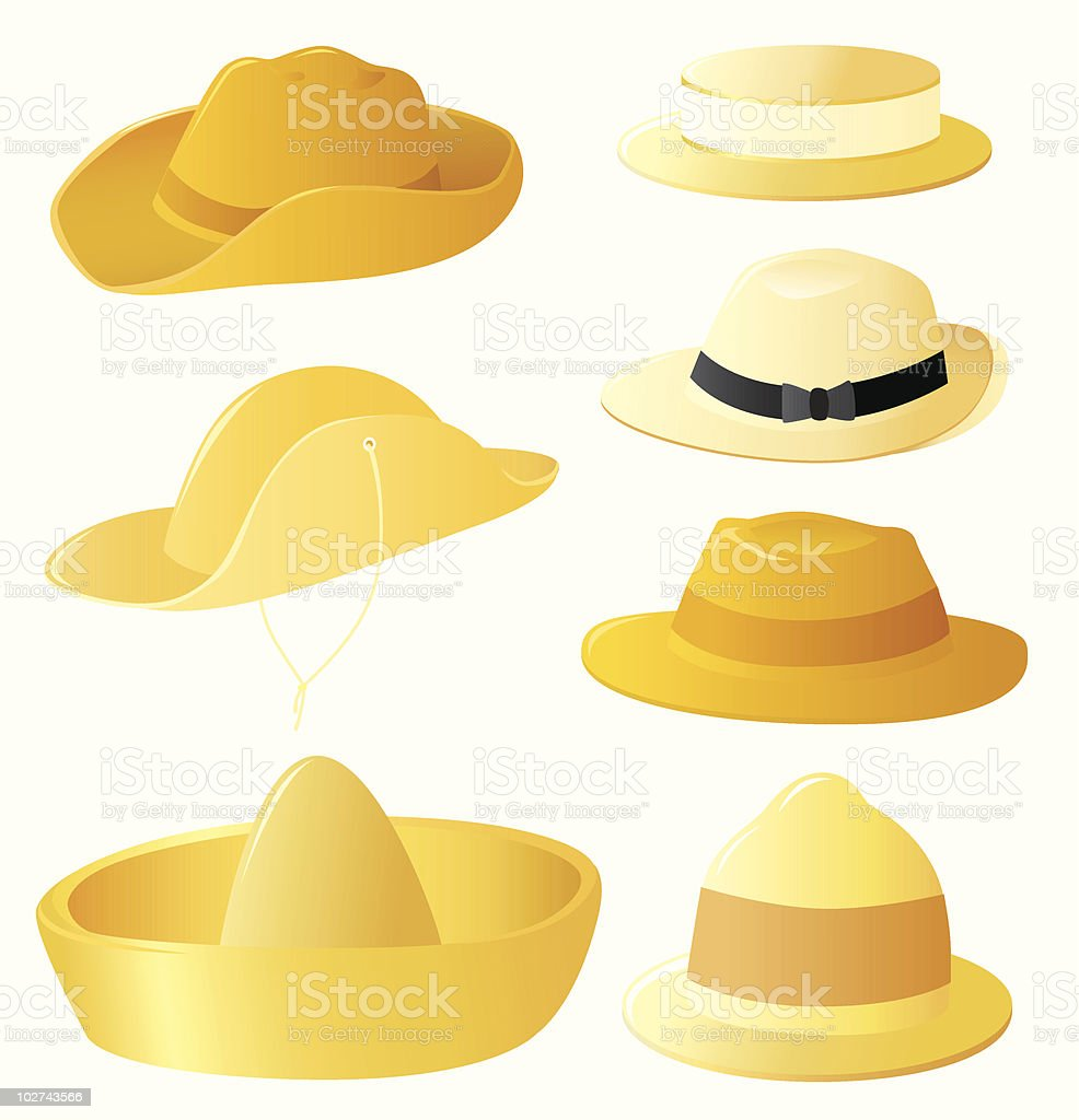 Man's hats set vector art illustration