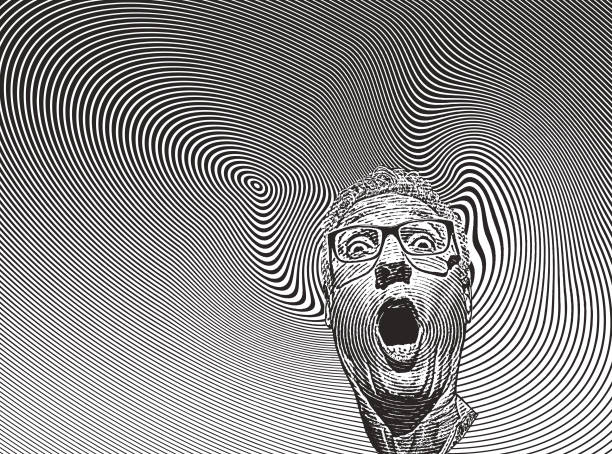 Mans head with shocked facial expression and halftone pattern Engraving illustration of a mans head with shocked facial expression and spiral halftone pattern one senior man only illustrations stock illustrations