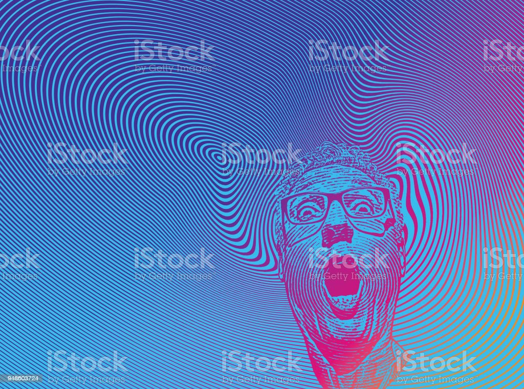 Mans head with shocked facial expression and halftone pattern vector art illustration